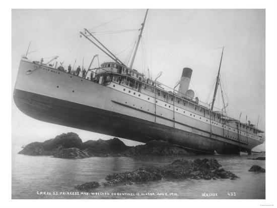 S.S. Princess May Shipwrecked Photograph - Alaska-Lantern Press-Art Print