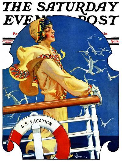 """S. S. Vacation,"" Saturday Evening Post Cover, July 20, 1929-Elbert Mcgran Jackson-Giclee Print"
