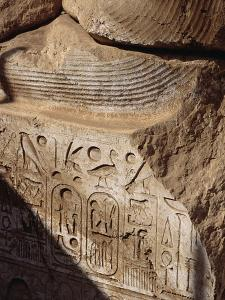 Detail of Heiroglyphics on a Colossi of Ramesses II at Sohag by S. Vannini