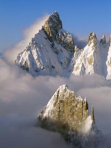 Noire de Peuterey and La Brenva Peaks at Dawn by S. Vannini