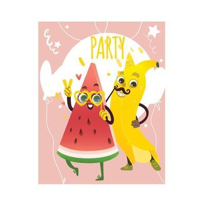 Cheerful Watermelon and Banana at Summer Party