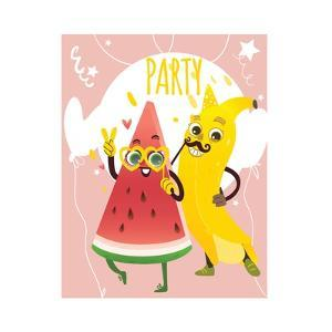 Cheerful Watermelon and Banana at Summer Party by sabelskaya