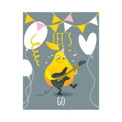 Funny Pear Holding Playing Electric Guitar