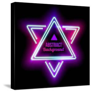 Neon Abstract Triangle. Glowing Frame. Vintage Electric Symbol. Burning a Pointer to a Black Wall I by sabelskaya