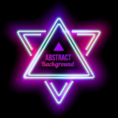 Neon Abstract Triangle. Glowing Frame. Vintage Electric Symbol. Burning a Pointer to a Black Wall I
