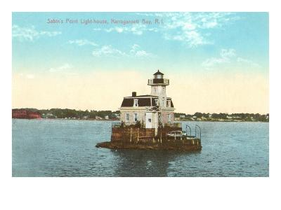Sabin's Point Lighthouse, Narragansett Bay, Rhode Island--Art Print