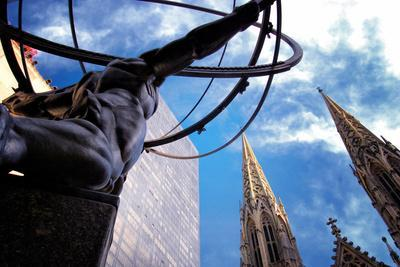 Atlas Staue and St. Patrick's Cathedral, Manhattan, New York Cit