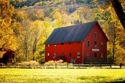 Red Barn and Autumn Foliage, Kent, Connecticut.
