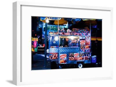 Street Vendor Selling Hot Dogs on Times Square at Night, Manhatt