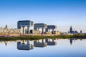 Crane Houses, Cologne Cathedral and River Rhine, Rheinauharbour, Cologne, North Rhine Westphalia by Sabine Lubenow
