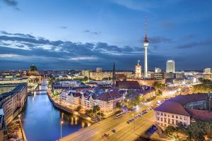 Overview, Berlin Dom, Spree River and Television tower, Berlin, Germany by Sabine Lubenow