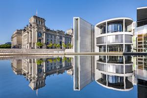 Reichstag, Paul Löbe Haus and River Spree, Berlin, Germany by Sabine Lubenow