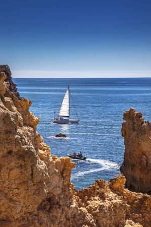 Sailing Boat, Ponta De Piedade, Lagos, Algarve, Portugal