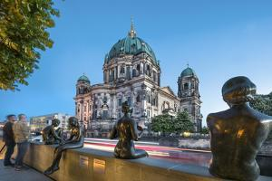Statues in front of Berlin Dome and Spree River, Berlin, Germany by Sabine Lubenow