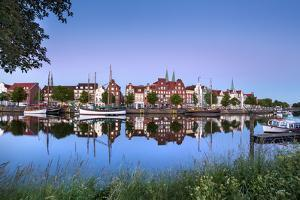 View over river Trave towards old town, Lübeck, Baltic coast, Schleswig-Holstein, Germany by Sabine Lubenow