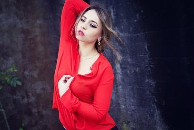 Young Woman Wearing Red Blouse