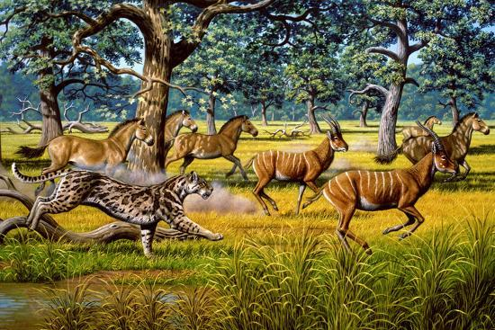 Sabre-toothed Cat Chasing Prey-Mauricio Anton-Photographic Print