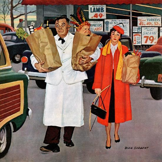 """""""Sack Full of Trouble"""", April 14, 1956-Richard Sargent-Giclee Print"""