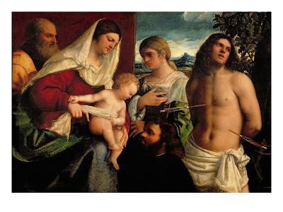 Sacra Conversatione with Ss. Catherine, Sebastian and Holy Family (Oil on Panel)-Sebastiano del Piombo-Giclee Print