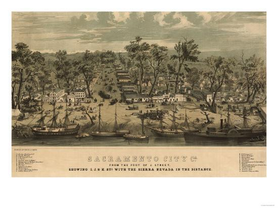 Sacramento, California - Panoramic Map No. 1-Lantern Press-Art Print