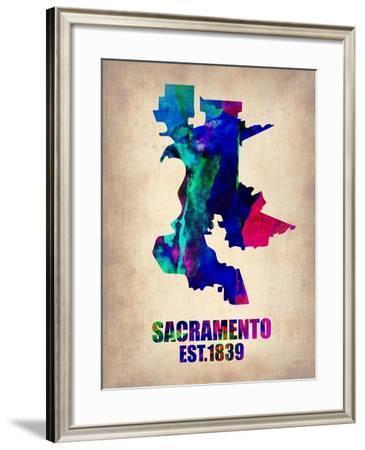 Sacramento Watercolor Map-NaxArt-Framed Art Print