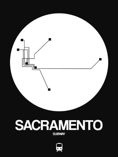 Sacramento White Subway Map-NaxArt-Art Print