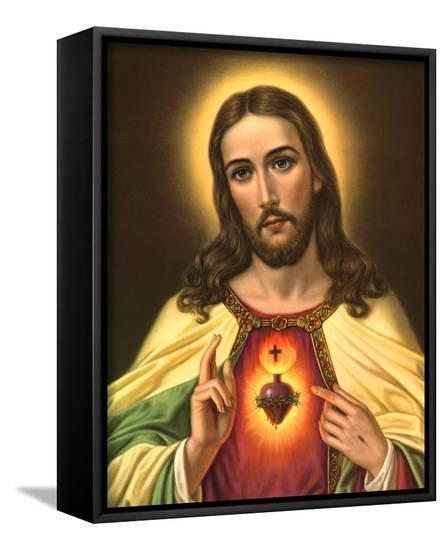Sacred Heart Of Jesus Framed Canvas Print By Artcom