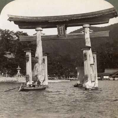 Sacred Torii Gate Rising from the Sea, Itsukushima Shrine, Miyajima Island, Japan, 1904-Underwood & Underwood-Photographic Print