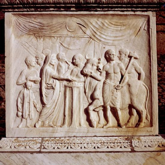 Sacrifice of an ox, Temple of Vespasian, Pompeii, Italy, 1st century. Artist: Unknown-Unknown-Giclee Print