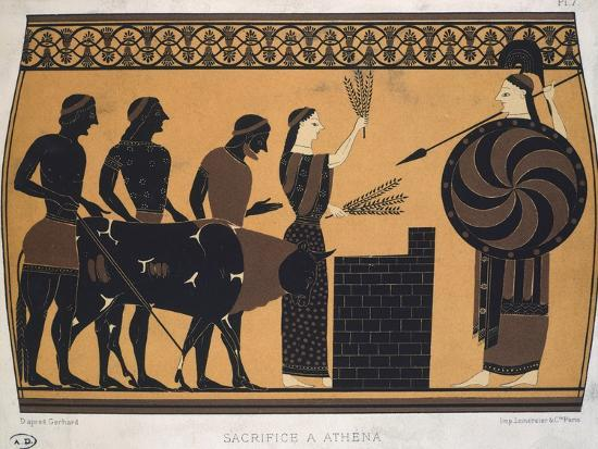 Sacrifice to Athena. Etruscan Civilization, 9th-1st Century BC--Giclee Print