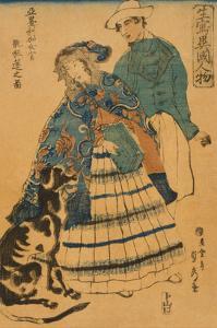 American Lady Playing Accordion (Amerika Jokan Hansui O Gansuru No Zu) by Sadahide Utagawa
