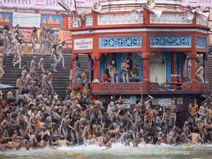 Sadhus at a Royal Bath (Sahi Snan) During Kumbh Mela in Haridwar, Uttar Pradesh, India, Asia