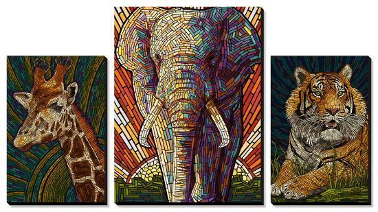 Safari Creatures Paper Mosaic-Lantern Press-Canvas Art Set