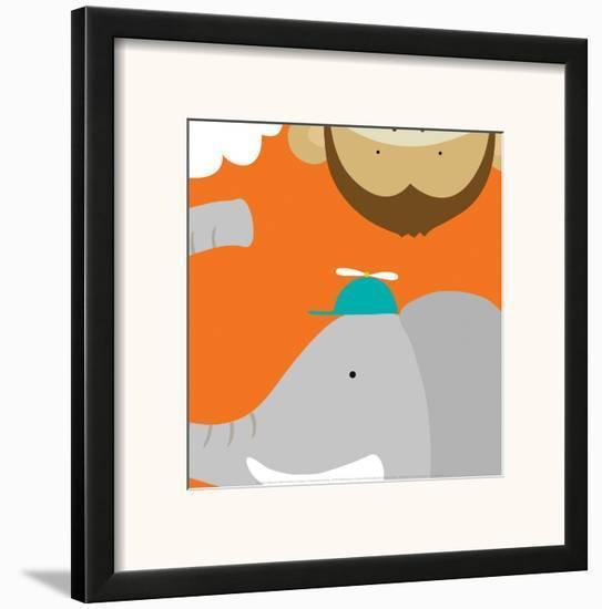 Safari Group: Monkey and Elephant-Yuko Lau-Framed Art Print