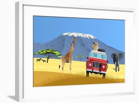 Safari Truck in African Savannah-Nikola Knezevic-Framed Art Print