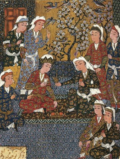 Safavid Persian Prince at Court, Miniature from a Persian Manuscript, 1650--Giclee Print