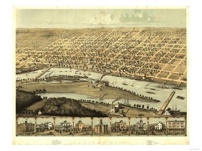 Saginaw, Michigan - Panoramic Map-Lantern Press-Art Print