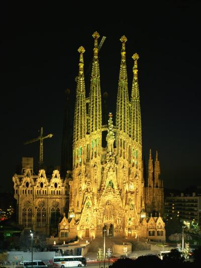 Sagrada Familia, the Gaudi Cathedral, Illuminated at Night in Barcelona, Cataluna, Spain-Nigel Francis-Photographic Print