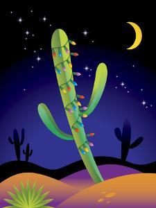 Saguaro Cactus Decorated with Christmas Lights