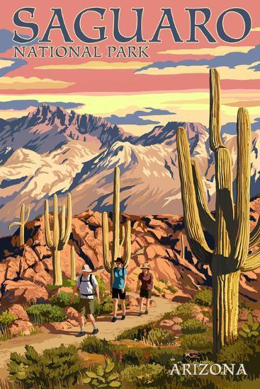 Saguaro National Park, Arizona - Hiking Scene-Lantern Press-Art Print