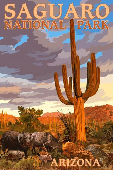 Saguaro National Park - Javelina-Lantern Press-Wall Mural