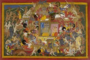Battle Scene at Lanka by Sahib Din