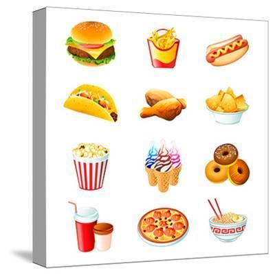 Colorful Icons With Fast Food Meals Isolated