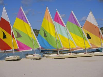 Sail Boats on the Beach, St. James Club, Antigua, Caribbean, West Indies, Central America-J Lightfoot-Photographic Print