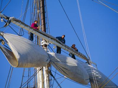 Sail Furling at the Living Maritime Museum, Mystic Seaport, Connecticut, USA-Fraser Hall-Photographic Print
