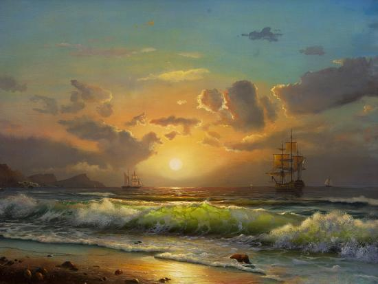 Sailboat Against A Background Of Sea Sunset, Oil Painting-Lilun-Art Print