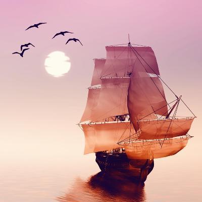 Sailboat against a Beautiful Landscape-Eva Bidiuk-Art Print