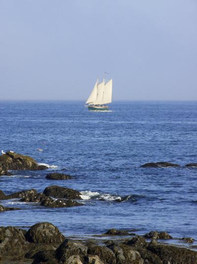 Sailboat Along The Coast, Kennebunkport, Maine, USA-Lisa S^ Engelbrecht-Photographic Print