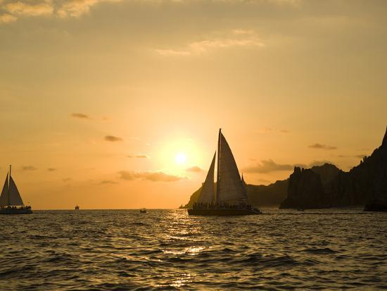 Sailboat at Sunset, Bay of Land's End (El Arco),Cabo San Lucas, Baja, Mexico-Michele Westmorland-Photographic Print