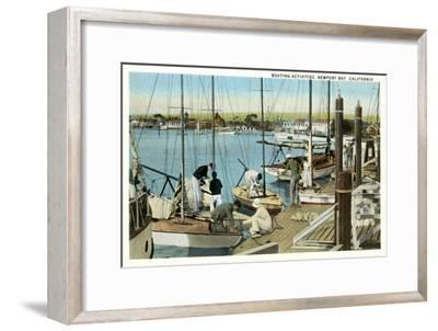Sailboat Docks, Newport Bay, California--Framed Art Print